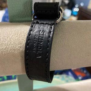 "Shinola black leather bracelet about 7"""